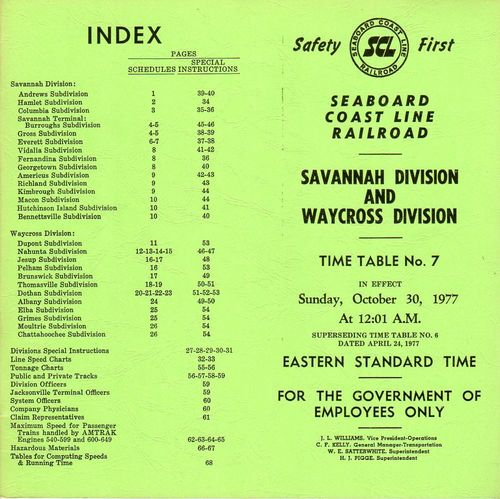 Seaboard Coast Line Savannah and Waycross Divisions