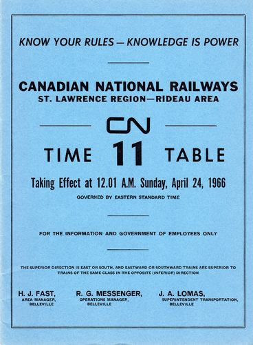 Canadian National Rideau Area 1966