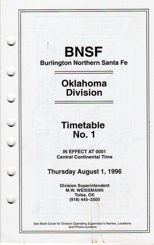 Burlington Northern Santa Fe Oklahoma Division 1996