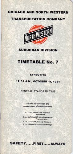 Chicago & North Western Suburban Division 1981
