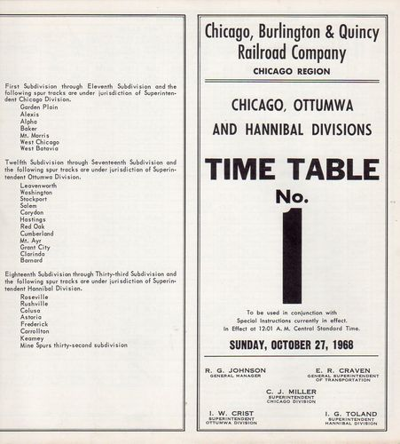 Chicago, Burlington & Quincy Chicago, Ottumwa & Hannibal Divisions 1968