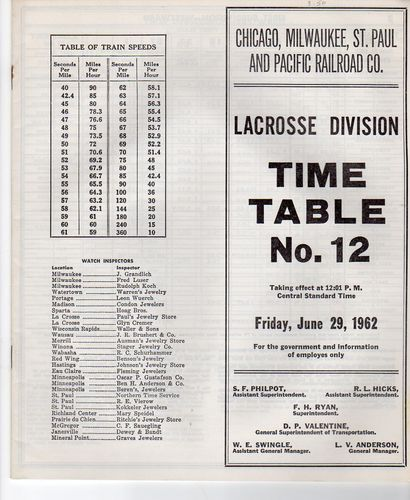 Milwaukee Road LaCrosse Division 1962