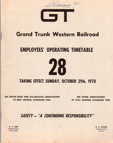 Grand Trunk Western Railroad 1978
