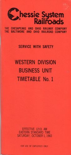 Chessie System Western Division Business Unit 1983