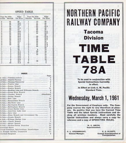 Northern Pacific Tacoma Division 1961